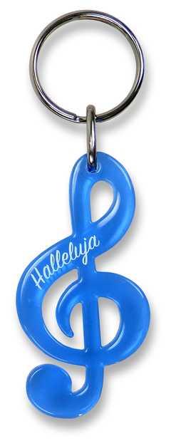 """schlüsselanhänger notenschlüssel """"halleluja""""  blau"""