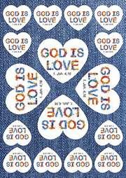 Aufkleber-Gruß-Karten: GOD IS LOVE, 12 Stück