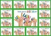 Aufkleber-Gruß-Karten: Schön, dass es dich gibt - 12 Stück