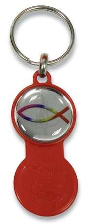 Schlüsselanhänger Einkaufswagenchip Fisch - rot